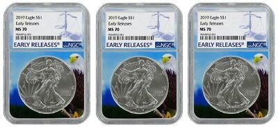 2019 1oz Silver Eagle NGC MS70 - Early Releases - Eagle Core 3 Pack