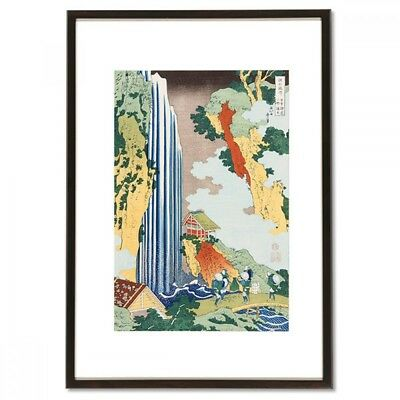 Hokusai Woodblock Print - Ono Falls on Kiso Road - A scene of Japanese waterfall