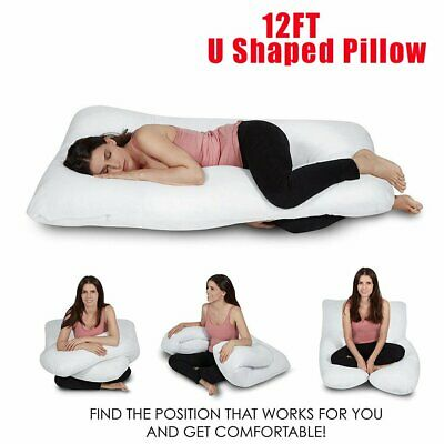 Giant 12FT U Shaped Pillow Extra Filled Pregnancy Maternity Body Back Support