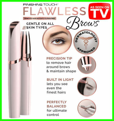 Flawless Women's Brows ROSE GOLD Electric Eyebrow Hair Remover LED Light