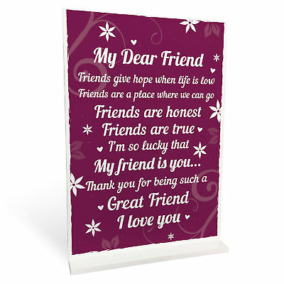 THANK YOU Gifts For Best Friend Standing Plaques Friendship Signs Birthday