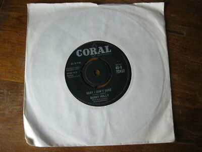 """VG   BUDDY HOLLY - Baby I Don't Care / Valley of Tears - 7"""" Single"""