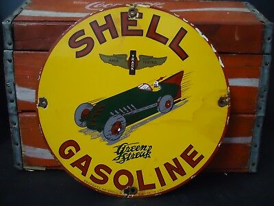 Rare 1929 Shell Green Streak  Gasoline  Porcelain  Gas Pump Sign, Great Colors