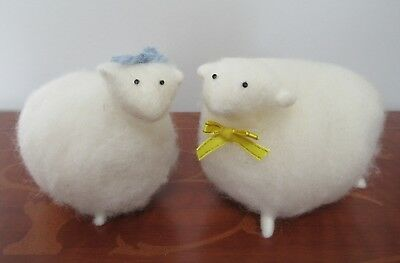 Set of 2 Handmade Sheep Figures Made from Wool