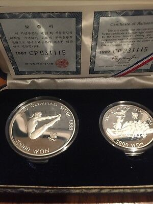 S.korea: 1988 Seoul Olympic Games 2 Coin Silver Proof Set Diving $19.95 Nr