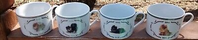 4 Danbury Mint Pomeranian Coffee Tea Cocoa CUPS MUGS Dog ~ FREE SHIP!