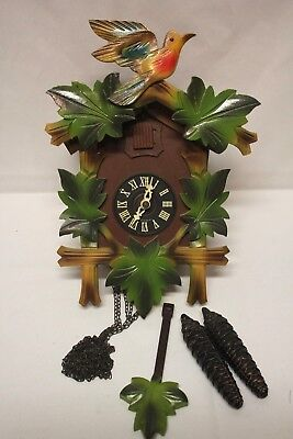 Vintage Colorful Quail and Forest Leaf West German Made Carved Cuckoo Clock