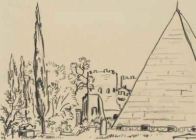 H.WINGLER (*1896), Protestant. Friedhof mit Cestius-Pyramide in Rom, 1963, Zchng