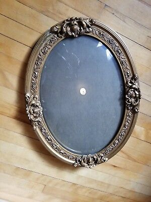 Antique Victorian Oval Gold Gilded Wooden Frame Convex Bubble Glass VG Condition
