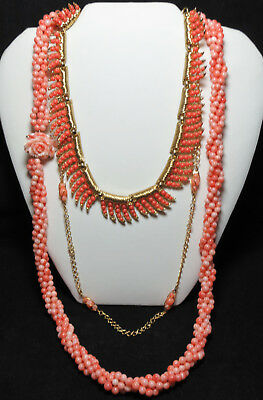 Vintage Jewelry-Carved CORAL Beaded Twist-TRIFARI CORAL Beaded Choker-AVON Chain