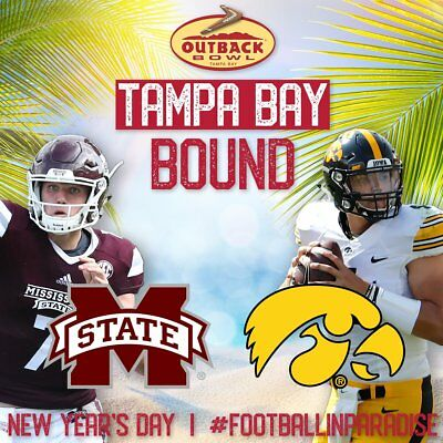 2019 Outback Bowl (Iowa vs Mississippi State) (2) F-150 Hall of Fame Ste Seats