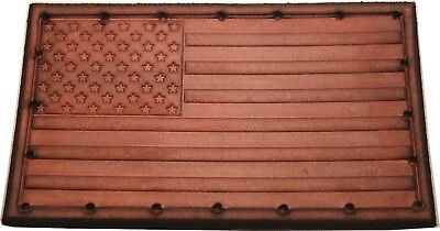 "4/"" x 2.25/"" Military Style USA Flag Patch American Flag Genuine Leather"