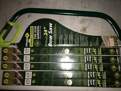 "SPEAR AND JACKSON BOW SAW 610mm 24"" KEW GARDEN COLLECTION PLUS  5 BLADES"
