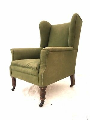 Antique 19th Century Mahogany Library Chair Rustic Wing  Back Estate Armchair