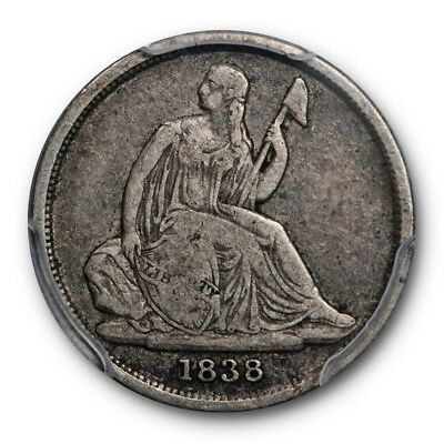 1838-O 10C No Stars Liberty Seated Dime PCGS F 15 Original