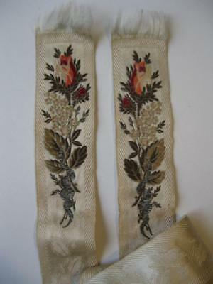 Antique EMBROIDERY 36 inch Trim Border Embroidered floral flowers snake vintage
