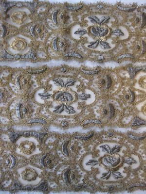 Exquisite Antique EMBROIDERY 69 inch Trim Border Gold Silver Embroidered flowers