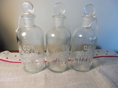 3 Vintage EMBOSSED APOTHECARY Bottles WHEATON  w Stoppers Three different types