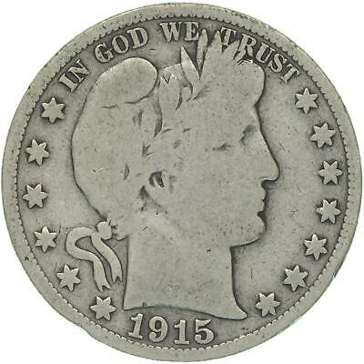 1915 S Barber Half Dollar 90% Silver Very Good VG
