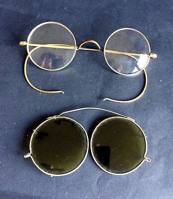 Antique Victorian Spectacles With Sunshade Attachment, Victorian Sunglasses