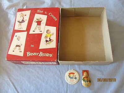 3 Vintage Buster Brown Shoes Pieces Box Clicker & Pin
