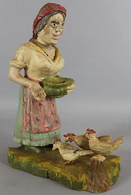 Antique Early 20thC Folk Art Carved & Painted Wood, Lady Feeding Chickens, NR