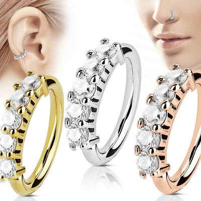 16G Zircon Crystal Nose Ring Septum Ear Cartilage Helix Tragus Cuff Hoop Jewelry