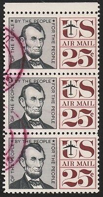 USA AIRMAIL POSTAGE  25c BLOCK OF  3 UNH