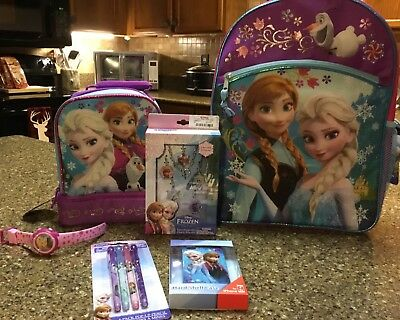 New Huge Lot Disney Frozen Lunch Box Backpack Jewlery Charms Pencils Anna Elsa
