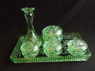 Bagley Green Depression Glass 6Pce Dressing Table Set - Clearance Sale