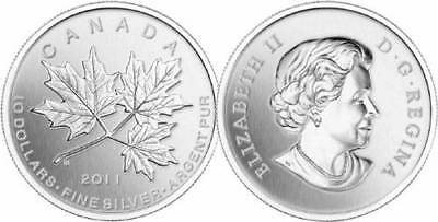 2011 $10 FINE SILVER COIN - MAPLE LEAF FOREVER in case