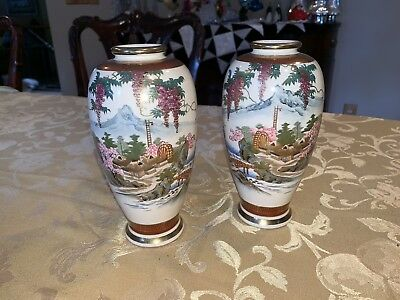 TWO.  Fine Japanese Hand Painted Satsuma Miniature Vase