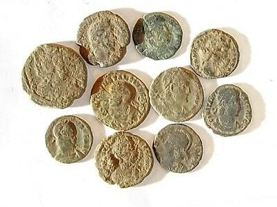 10 ANCIENT ROMAN COINS AE3 - Uncleaned and As Found! - Unique Lot 34408