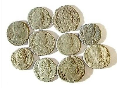 10 ANCIENT ROMAN COINS AE3 - Uncleaned and As Found! - Unique Lot 34406