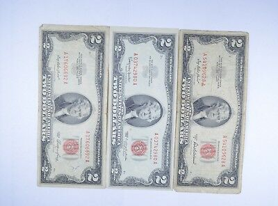 Lot (3) Red Seal $2.00 US 1953 or 1963 Notes - Currency Collection *093