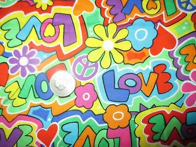 PSYCHEDELIC Vintage VIBRANT LOVE HEARTS FLOWERS 1990's COTTON Fabric-over 1 yd