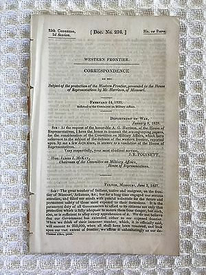 1838 25th Congress 2nd Session Subject Western Frontier Indians Military Affairs