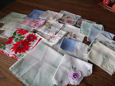 Vintage Ladies Hankies Handkerchief- Printed,Embroidery,Flocked,Crochet-20