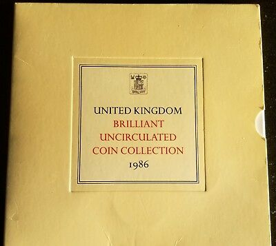 1986 Brilliant Uncirculated Coin Collection Of 8 Coins In Royal Mint Pack
