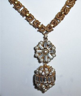 """Vintage Costume Jewelry 16""""  Necklace with Baguette Rhinestone Faux Pearl Ball"""