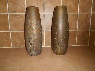 "Pair Of Silver Crest Bronze Vases 13"" Tall #2039"