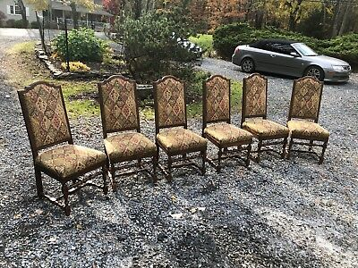 Vintage Dining Room Chairs Set Walnut 6 Solid Wood Country Style