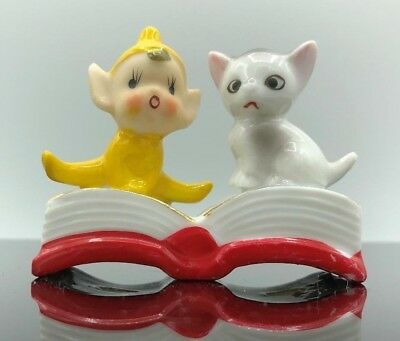 Vintage Ceramic Pixie Elf Figurine  - Baby and Kitten Sitting on Book - Japan