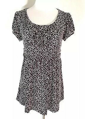 Oh Baby by Motherhood Maternity Woman's Size M Black White Squares Blouse C8