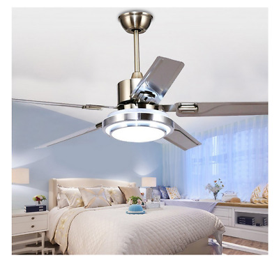 Modern Ceiling Fan Light Remote Control 5 Stainless Steel Blades LED Fan Ceiling