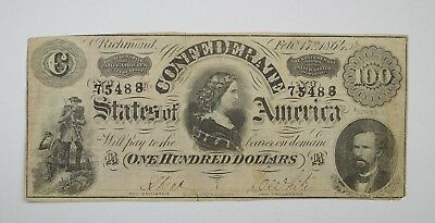 1864 $100 Confederate States of America Note - T-65 - Civil War Era *3590