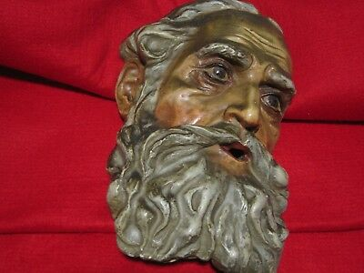 Antique M Choquette Moses Religious Head Figure Wall Mount Sculpture Vintage Old