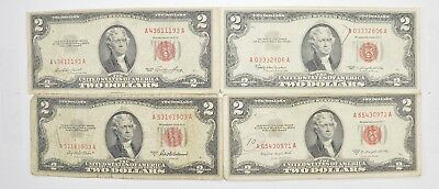 Lot (4) Red Seal $2.00 US 1953 or 1963 Notes - Currency Collection *476