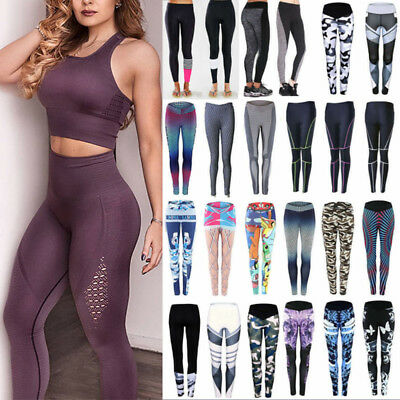 Womens Yoga Sports Running Pants Leggings Print Fitness Trousers Gym Clothes X48