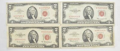 Lot (4) Red Seal $2.00 US 1953 or 1963 Notes - Currency Collection *475